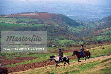 Horse riding near Gospel Pass, Black Mountains, Gwent, Wales, United Kingdom, Europe
