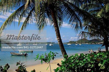 Plage de reduit, Rodney Bay, Sainte-Lucie, îles sous-le-vent, Antilles, Caraïbes, Amérique centrale