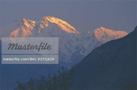 Coucher de soleil, montagne Nanga Parbat, montagnes Karakoram (Karakorum), Pakistan, Asie