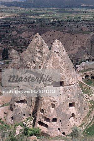 Habitations troglodytiques, près de Göreme, Cappadoce, Anatolie, Turquie, Asie mineure, Asie