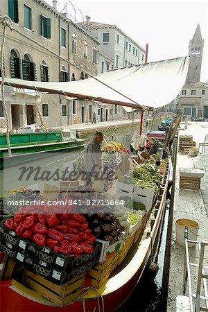 Canalside vegetable market stall, Venice, Veneto, Italy, Europe
