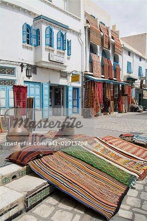Tapis marché, Kairouan, Tunisie, l'Afrique du Nord, Afrique