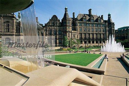 Hôtel de ville et jardins de la paix, Sheffield, Yorkshire, Angleterre, Royaume-Uni, Europe