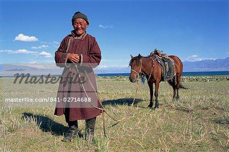 Lac Uureg Nuur, nomade et son cheval, Uvs, la Mongolie, l'Asie centrale, Asie