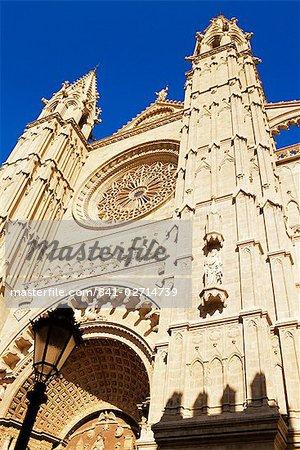 Façade de la cathédrale de Palma, Palma de Mallorca, Mallorca (Majorque), îles Baléares, Espagne, Méditerranée, Europe