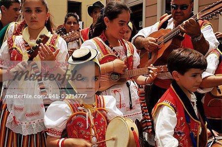 People wearing traditional dress and singing during Corpus Christi celebration, La Orotava, Tenerife, Canary Islands, Spain, Atlantic, Europe