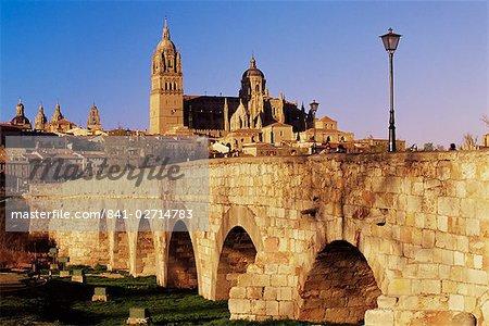 The Roman bridge and city from the Tormes River, Salamanca, Castilla Leon, Spain, Europe