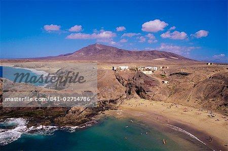 Papagayo beach et le littoral, Lanzarote, îles Canaries, Espagne, océan Atlantique, l'Europe