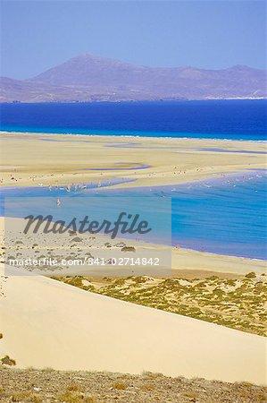 Sandy dunes, coastline and Peninsula de Gandia, Fuerteventura, Canary Islands, Spain, Atlantic, Europe