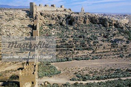 Les murs défensifs, Hoya de la Muralla, Alcazaba, château maure, Almeria, Andalousie (Andalousie), Espagne, Europe