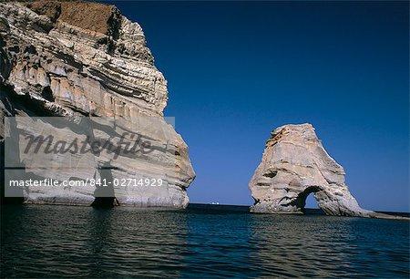 Volcanic rock formations on the south eastern coast, near Kleftiko, Milos, Cyclades islands, Greece, Mediterranean, Europe