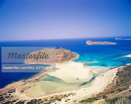Vue aérienne de Gramvousa île et la côte de la péninsule de Gramvousa, Crète, Grèce, Méditerranée occidentale, l'Europe
