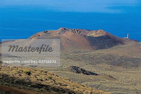 Volcano cone viewed from la Dehesa, with sea beyond, El Hierro, Canary Islands, Spain, Atlantic, Europe