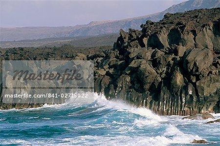 Volcanic rocks and sea, Parque Nacional de Timanfaya, Lanzarote, Canary Islands, Spain, Atlantic, Europe