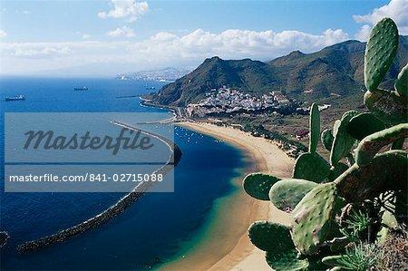 Vue aérienne de Playa de las Teresitas, Santa Cruz de Tenerife, Tenerife, îles Canaries, Espagne, Atlantique, Europe