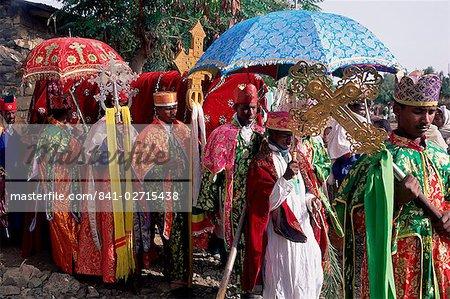 Procession de la fête chrétienne des Rameaux, Axoum (Axoum) (Aksoum), région de Tigre, Ethiopie, Afrique