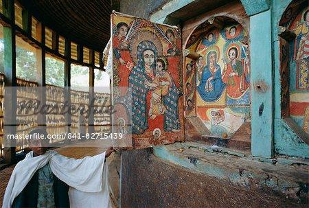 Paintings and interior in the Ura Kedane Meheriet (Kidene Mehret) (Ura Kidanemereth) Christian church, Zege peninsula, Lake Tana, Gondar region, Ethiopia, Africa