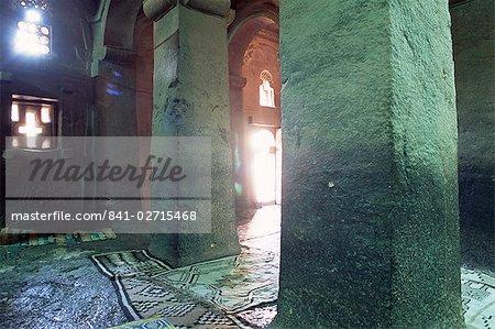 Interior of Christian church of Bieta Medani Alem (Bieta Medhane Alem), Lalibela, UNESCO World Heritage Site, Wollo region, Ethiopia, Africa