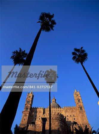 L'Europe chrétienne en arbres, Palerme, Sicile, Italie, Méditerranée, cathédrale et palm