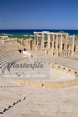 Roman theatre, archaeological site of Leptis Magna, UNESCO World Heritage Site, Tripolitania, Libya, North Africa, Africa