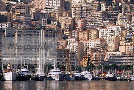 Boats on the waterfront, Monte Carlo, Monaco, Cote d'Azur, Mediterranean, Europe