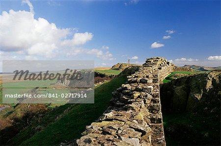 Wallcrags, muraille romaine, du mur d'Hadrien, patrimoine mondial de l'UNESCO, Northumberland (Northumbrie), Angleterre, Royaume-Uni, Europe