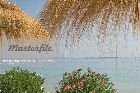 Beach café, Marco Beach, Lake Garda, Veneto, lacs italiens, Italie, Europe