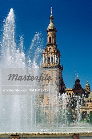 Fontaines de la Plaza de Espana, Séville, Andalousie (Andalousie), Espagne, Europe
