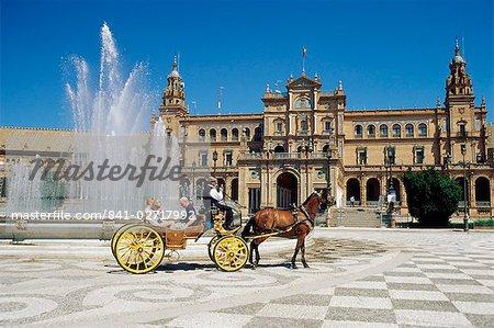 The Plaza de Espana, Seville, Andalucia (Andalusia), Spain, Europe
