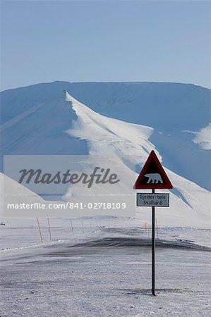 Polar bear sign, Longyearbyen, Svalbard, Spitzbergen, Arctic, Norway, Scandinavia, Europe