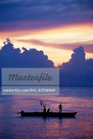 Fishing boat in the Indian Ocean at dawn, island of Zanzibar, Tanzania, East Africa, Africa