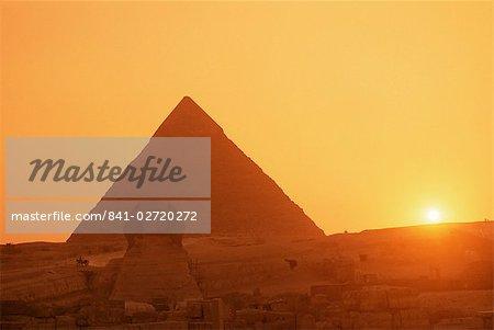 Sphinx et Kefren (Khéphren) pyramide, Gizeh, patrimoine mondial UNESCO, le Caire, en Égypte, en Afrique du Nord, Afrique