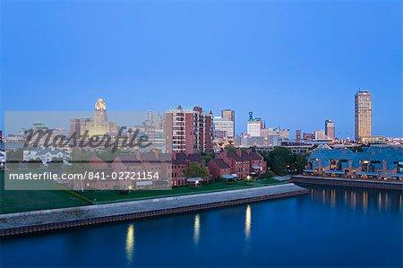 Erie Basin Marina and city skyline, Buffalo, New York State, United States of America, North America