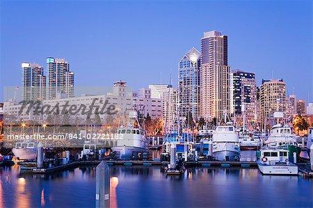 Port de thon et skyline, San Diego, Californie, États-Unis d'Amérique, l'Amérique du Nord