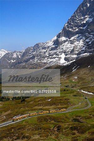Zug von Grindelwald auf Route nach Kleine Scheidegg, Berner Oberland, Schweizer Alpen, Schweiz, Europa