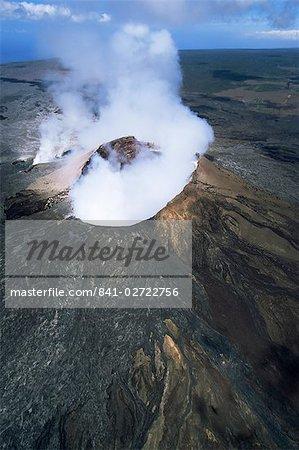 Cône de cendres de l'O Pulu, la grille d'aération actif sur le flanc sud du volcan Kilauea, patrimoine mondial de l'UNESCO, Big Island, Hawaii, États-Unis d'Amérique, Amérique du Nord