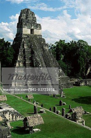 Temple du grand Jaguar sur la Grand place, Mayan ruins, Tikal, patrimoine mondial UNESCO, Petén, Guatemala, Amérique centrale