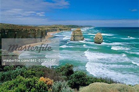 Sea stacks at the Twelve Apostles on rapidly eroding coastline, Port Campbell National Park, Great Ocean Road, Victoria, Australia