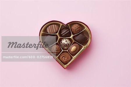 Still Life of Heart-Shaped Box of Chocolates