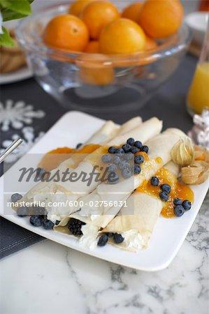 Heidelbeeren und Mascarpone-Crepes