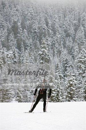 Backview de Biathlon masculin Ahtlete, Whistler, Colombie-Britannique, Canada
