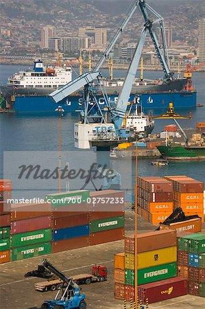 Cargaison de conteneurs, le Port de Valparaiso, Valparaiso, Chile