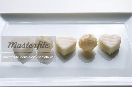 Weiße Schokolade in Herzform
