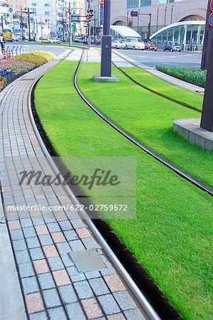 Tramway vide à Kyushu, préfecture de Kagoshima, Japon