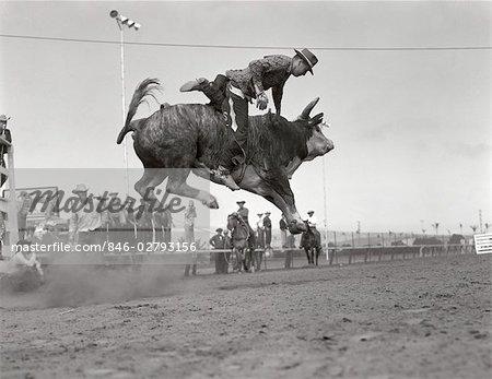 ANNÉES 1950 COWBOY RIDING BULL SAUTER DANS L'AIR HOMME TOMBER RODEO RIDER