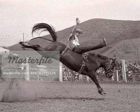 1950ER JAHRE COWBOY BRONCO BUSTER REITEN PFERD CALIFORNIA 1953
