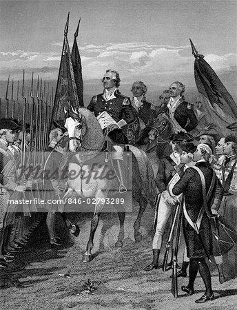 GRAVURE DE GEORGE WASHINGTON CHEVAL EN PRENANT LE COMMANDEMENT DE LA CONTINENTAL ARMY