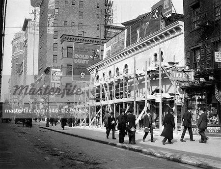 NEW YORK CITY THEATER DE HAYMARKET DEVIENT FILM MAISON FIN DU FILET DE LA 6E AVENUE ET RUE 30E CIRCA 1915 1916