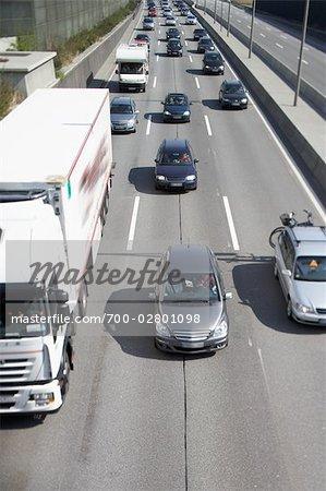 Vue aérienne du trafic, Hambourg, Allemagne