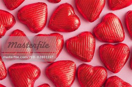 Fleuret enveloppé coeur chocolat